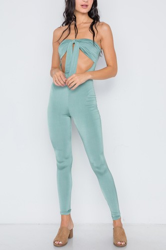 Front tie cut out skinny leg jumpsuit-id.cc38976a