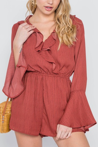 Surplice neck long sleeve romper-id.cc38981a