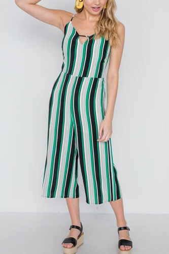 Green stripe cami wide leg capri jumpsuit-id.cc38982