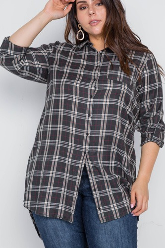 Plus size green taupe plaid long sleeve top-id.cc39005