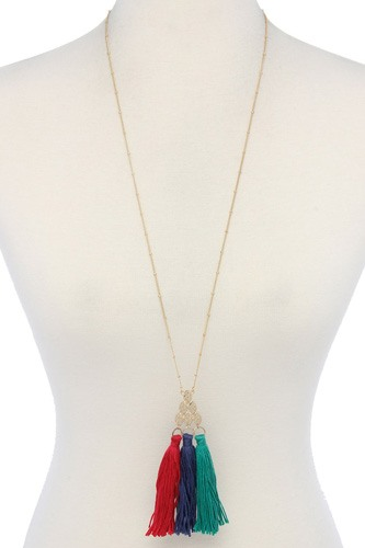 Multi color tassel necklace-id.cc39016