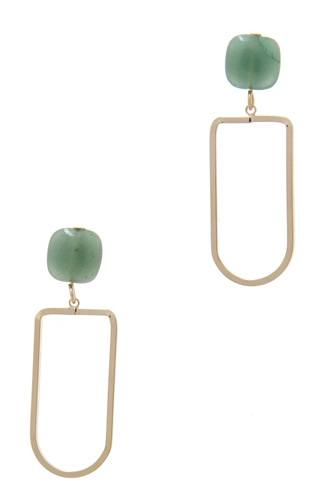 Natural stone metal drop earring-id.cc39018
