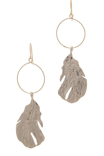 Textured metal leaf circle drop earring-id.cc39025