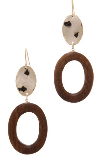Wood circle shape hammered oval drop earring-id.cc39026