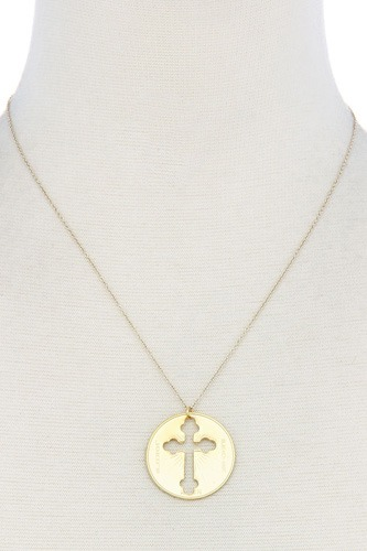 Chic cross coin pendant necklace-id.cc39042