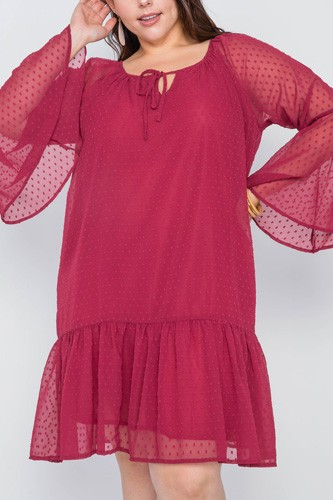 Plus size burgundy bell sleeves shirred dress-id.cc39049
