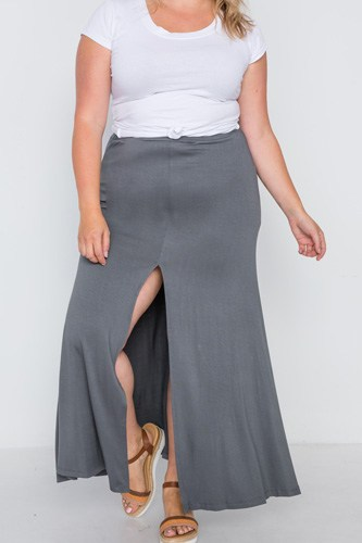 Plus size charcoal basic front slit maxi skirt-id.cc39054