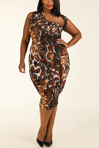 Leopard around the neck sleeveless bodycon dress-id.cc39059