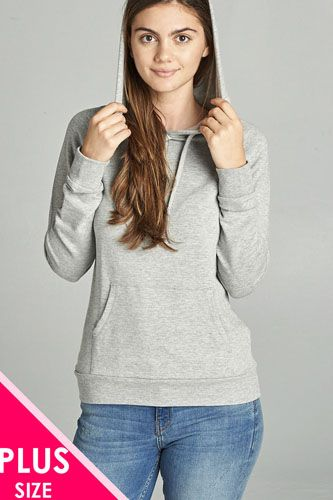 Long sleeve pullover french terry hoodie top w/ kangaroo pocket-id.cc39073b