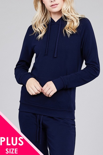 Long sleeve pullover french terry hoodie top w/ kangaroo pocket-id.cc39073c