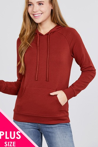 Long sleeve pullover french terry hoodie top w/ kangaroo pocket-id.cc39073d