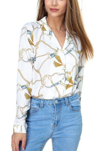 Chain & Tassel Button Down Shirt-id.cc39106a