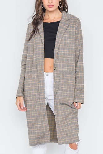 Plaid single button long sleeve blazer-id.cc39110a