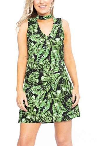 Hawaiian leaf print, sleeveless, a-line dress-id.cc39122