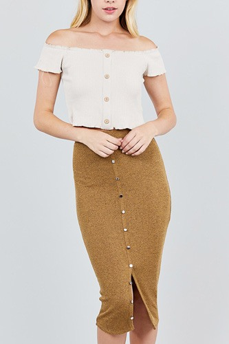 Front button down detail tow tone knit midi skirts-id.cc39134a