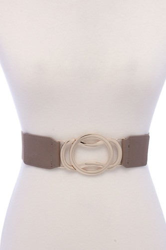 Circle metal buckle pu leather elastic belt -id.cc39142