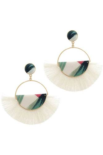 Fabric half circle fan tassel post drop earring-id.cc39158
