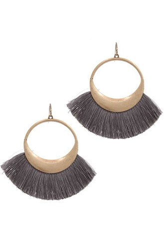 Metal fan tassel drop earring-id.cc39159