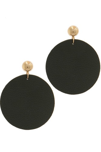 Leather circle post drop earring-id.cc39163