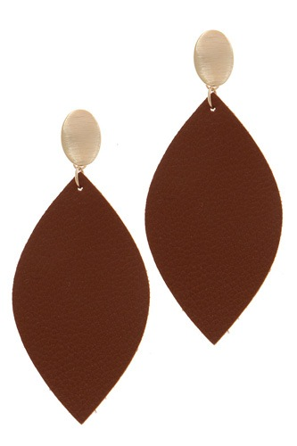 Leather pointed oval post drop earring-id.cc39164