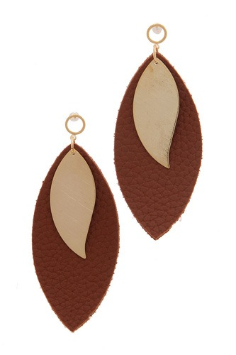 Leather pointed oval post drop earring-id.cc39166