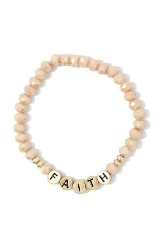 Faith beaded stretch bracelet-id.cc39167