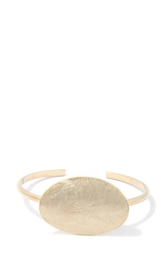 Brushed oval shape cuff bracelet-id.cc39173