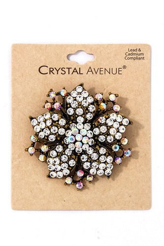 Chic fashion multi rhinestone flower brooch-id.cc39179