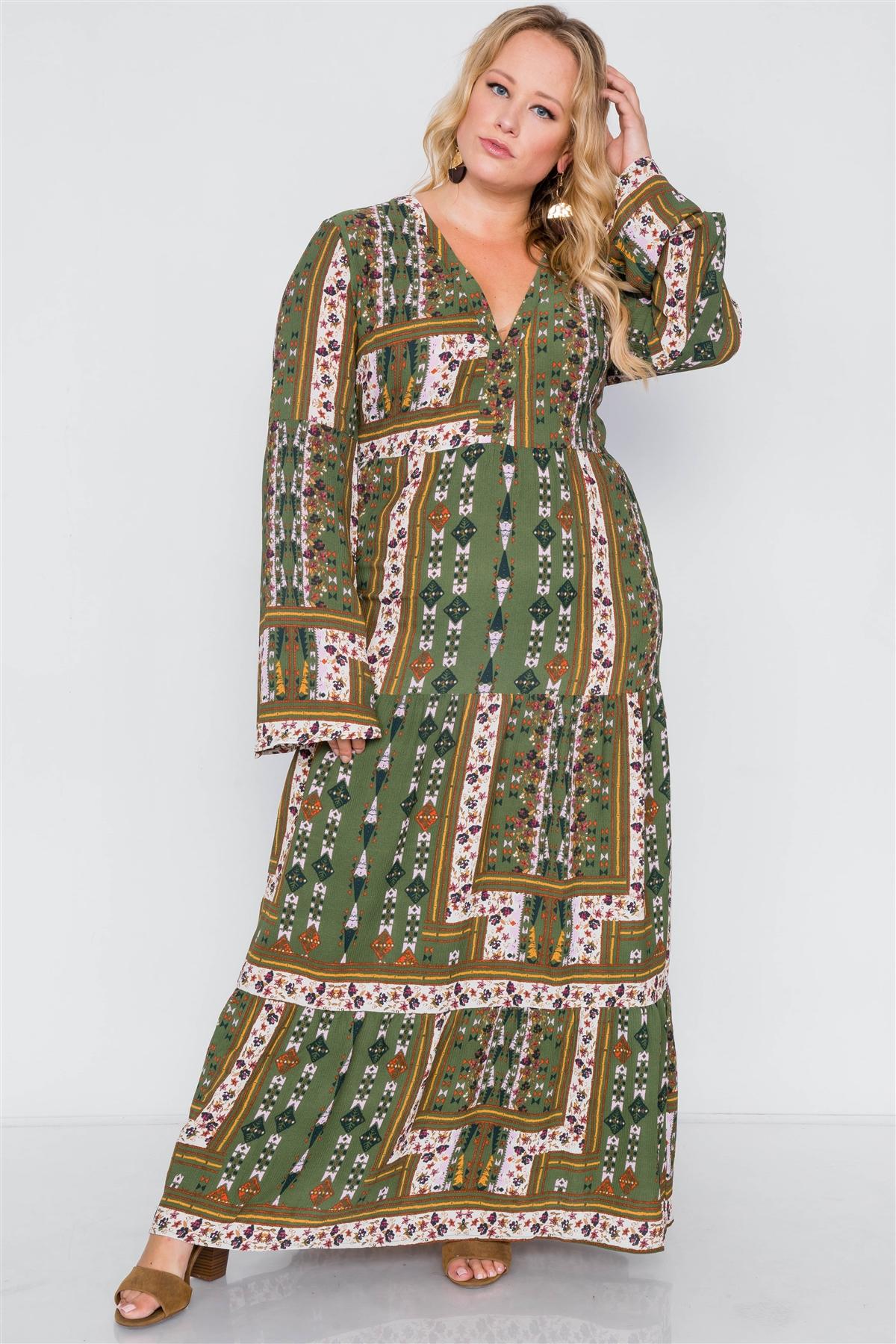 Plus size multi print v-neck long sleeve maxi dress-id.cc39191
