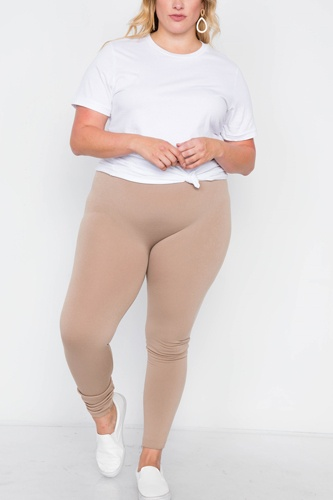 Plus size fleece lined solid leggings-id.cc39192