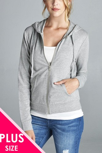 Long sleeve zipper french terry jacket w/ kangaroo pocket-id.cc39218b