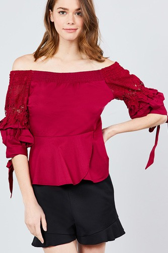 Bubble sleeve w/bow tie off the shoulder w/crochet lace cotton woven top-id.cc39235b