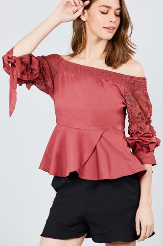 Bubble sleeve w/bow tie off the shoulder w/crochet lace cotton woven top-id.cc39235c