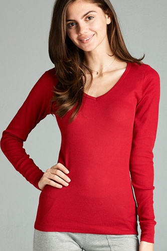 Long sleeve v-neck thermal top-id.cc39236j