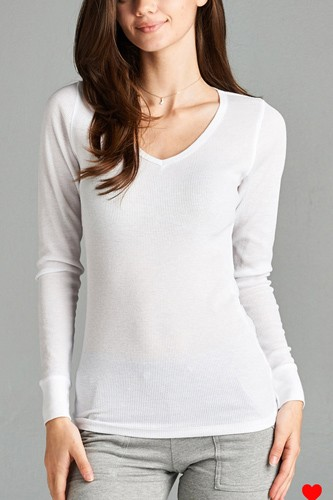 Long sleeve v-neck thermal top-id.cc39236l