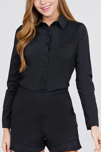 Long sleeve princess line one side pocket button down woven shirts-id.cc39238
