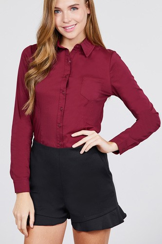 Long sleeve princess line one side pocket button down woven shirts-id.cc39238a