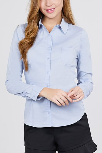Long sleeve princess line one side pocket button down woven shirts-id.cc39238c
