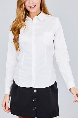 Long sleeve princess line one side pocket button down woven shirts-id.cc39238g