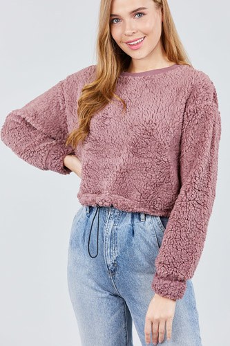 Long dolman sleeve round neck toggle elastic hem faux fur top-id.cc39239