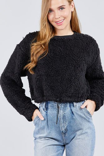 Long dolman sleeve round neck toggle elastic hem faux fur top-id.cc39239a