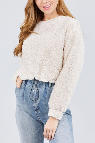 Long dolman sleeve round neck toggle elastic hem faux fur top-id.cc39239c