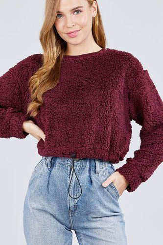 Long dolman sleeve round neck toggle elastic hem faux fur top-id.cc39239d