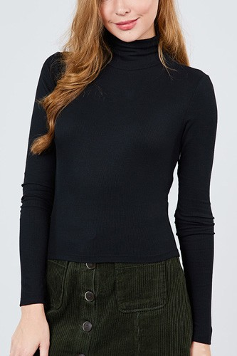 Long sleeve shirring turtle neck rib knit top-id.cc39240