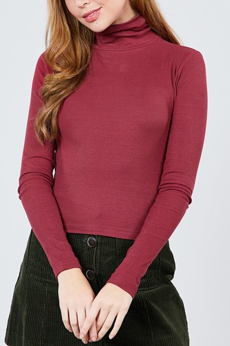 Long sleeve shirring turtle neck rib knit top-id.cc39240a