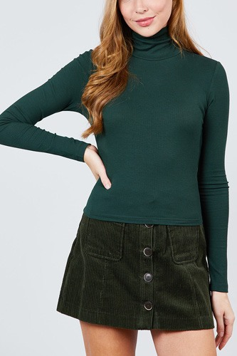Long sleeve shirring turtle neck rib knit top-id.cc39240d