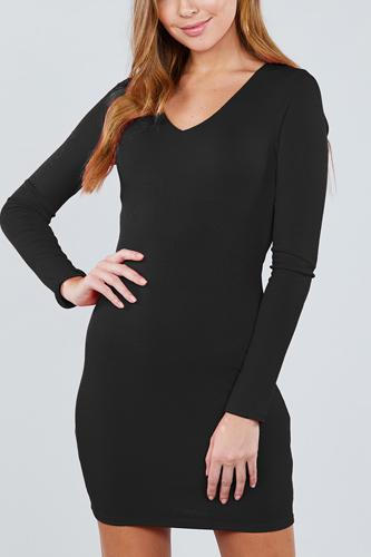 Long sleeve v-neck knit mini dress-id.cc39242a