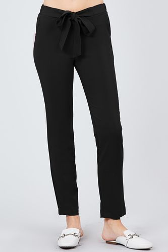 Front ribbon tied pegged long pants-id.cc39243