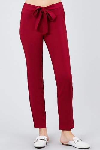 Front ribbon tied pegged long pants-id.cc39243a