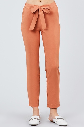 Front ribbon tied pegged long pants-id.cc39243b